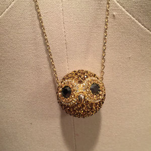 Fossil party animal crystal pave owl necklace